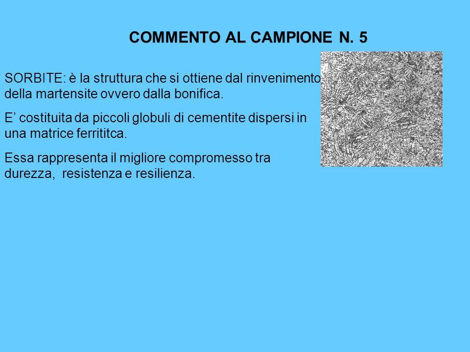 COMMENTO AL CAMPIONE N. 5 SORBITE: è la struttura che si ottiene dal rinvenimento della martensite ovvero dalla bonifica. E costituita da piccoli glob