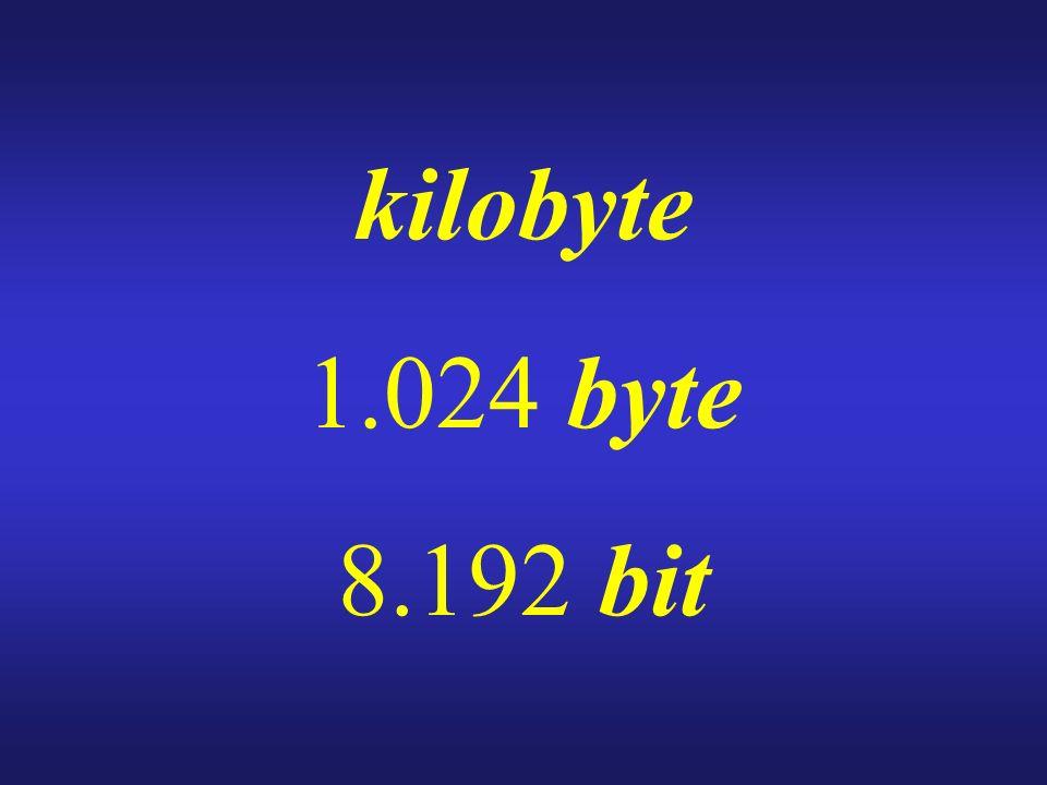 kilobyte 1.024 byte 8.192 bit