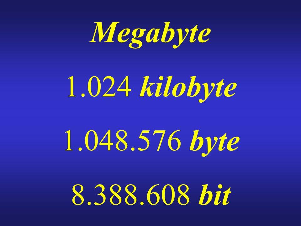 Megabyte 1.024 kilobyte 1.048.576 byte 8.388.608 bit