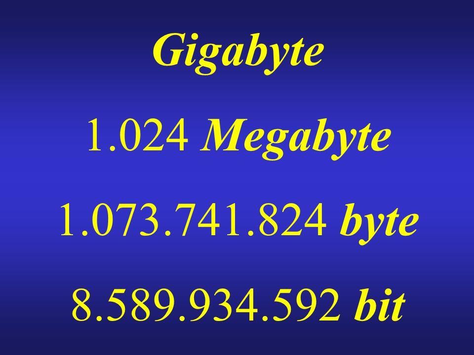 Gigabyte 1.024 Megabyte 1.073.741.824 byte 8.589.934.592 bit