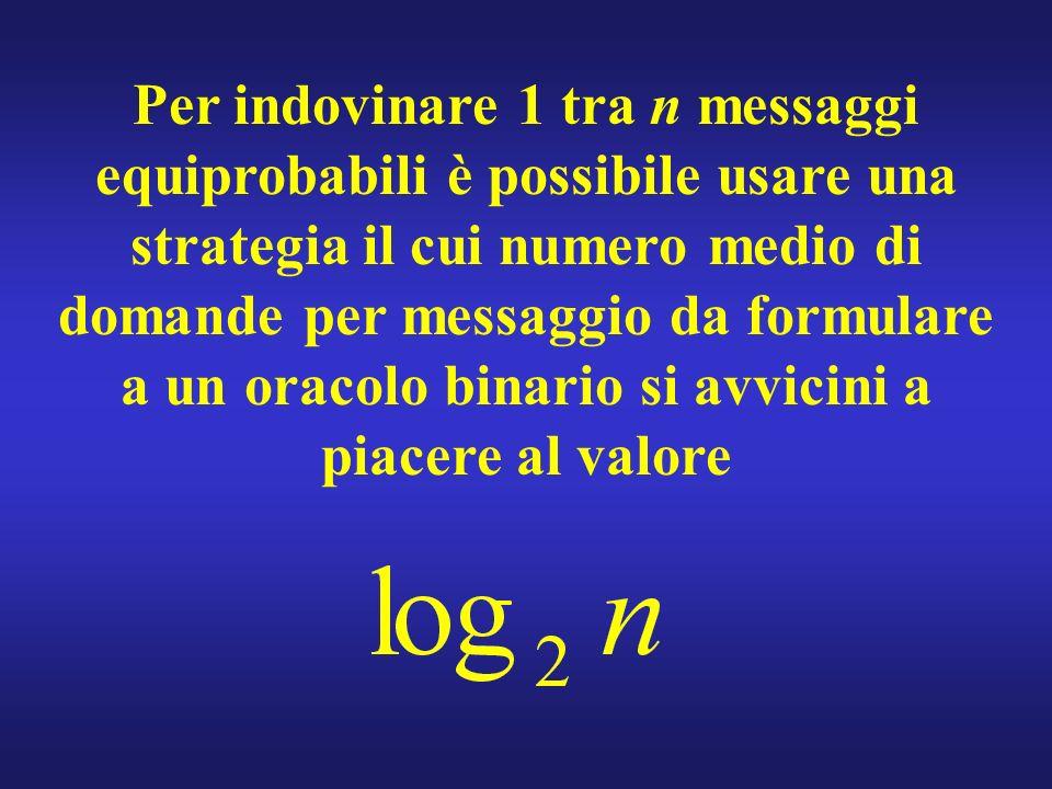 Per indovinare 1 tra n messaggi equiprobabili è possibile usare una strategia il cui numero medio di domande per messaggio da formulare a un oracolo binario si avvicini a piacere al valore
