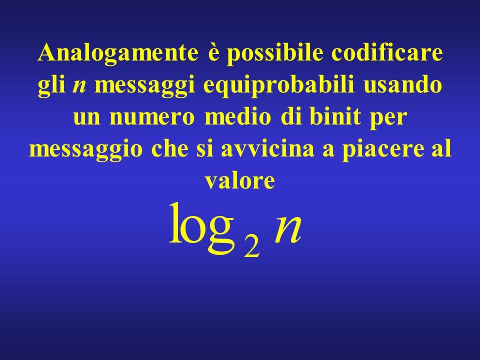 Analogamente è possibile codificare gli n messaggi equiprobabili usando un numero medio di binit per messaggio che si avvicina a piacere al valore