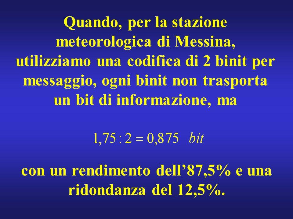 Quando, per la stazione meteorologica di Messina, utilizziamo una codifica di 2 binit per messaggio, ogni binit non trasporta un bit di informazione, ma con un rendimento dell87,5% e una ridondanza del 12,5%.