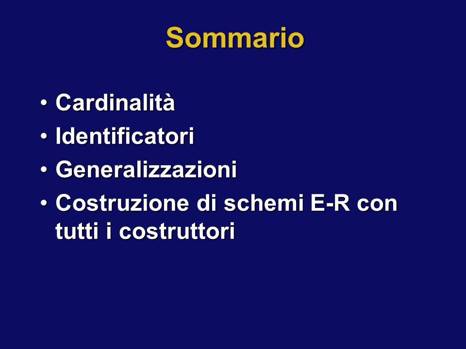 Sommario CardinalitàCardinalità IdentificatoriIdentificatori GeneralizzazioniGeneralizzazioni Costruzione di schemi E-R con tutti i costruttoriCostruz