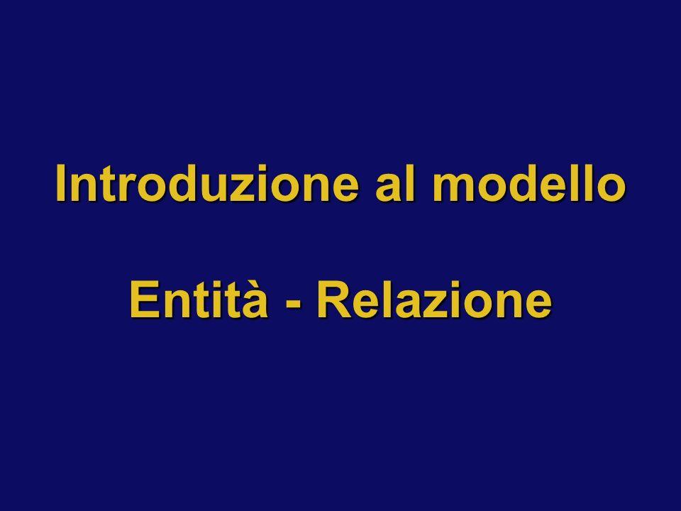 Introduzione al modello Entità - Relazione