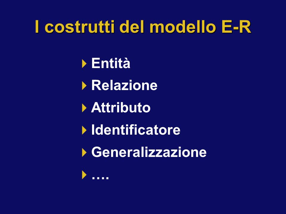 I costrutti del modello E-R Entità Relazione Attributo Identificatore Generalizzazione ….
