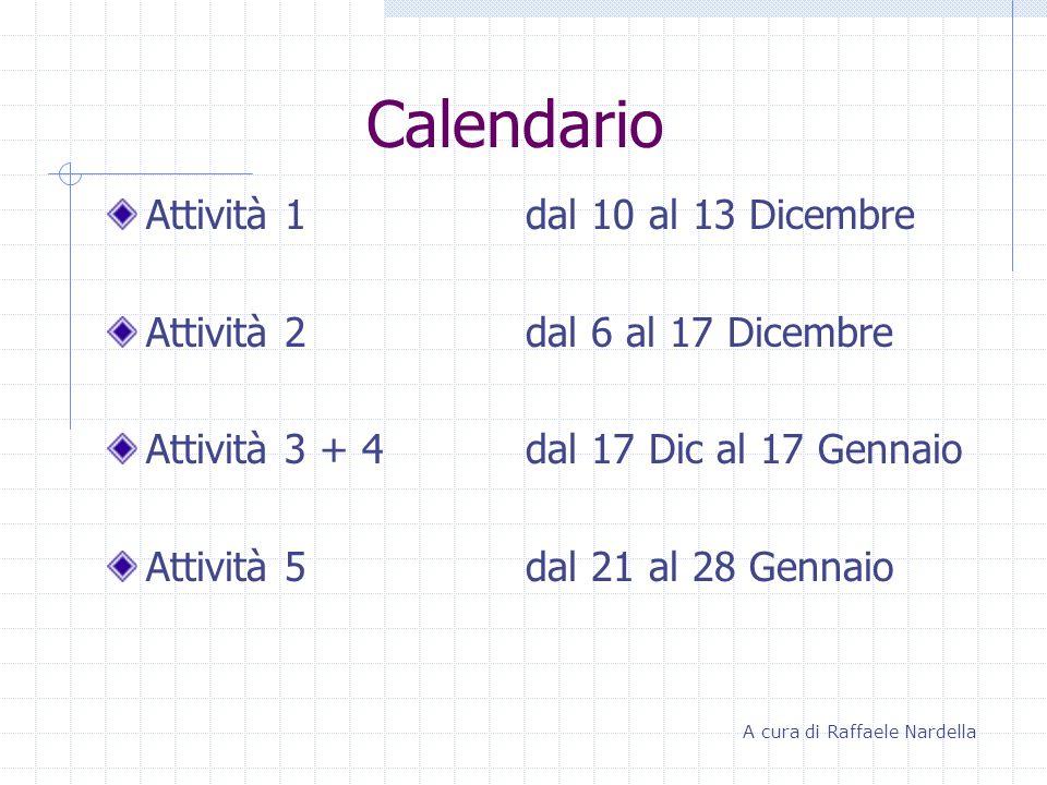 Calendario Attività 1 dal 10 al 13 Dicembre Attività 2dal 6 al 17 Dicembre Attività 3 + 4 dal 17 Dic al 17 Gennaio Attività 5dal 21 al 28 Gennaio A cu