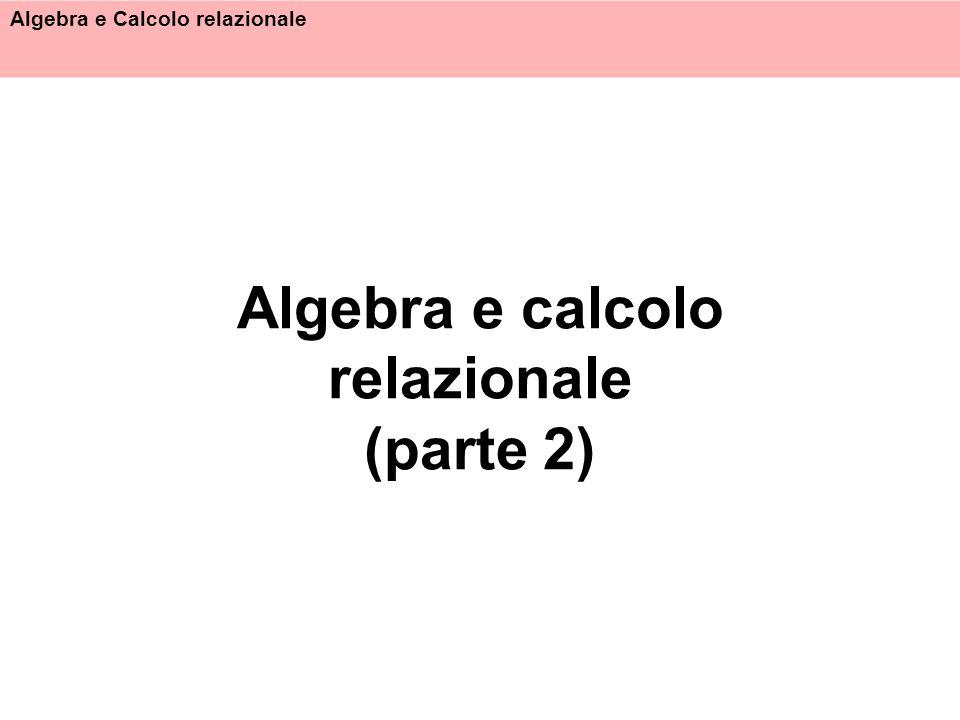 Algebra e Calcolo relazionale 32 Esempio 4 Trovare gli impiegati che guadagnano più del rispettivo capo, mostrando matricola, nome e stipendio di ciascuno di essi e del capo { Matr: m, Nome: n, Stip: s, NomeC: nc, StipC: sc | Impiegati(Matricola: m, Nome: n, Età: e, Stipendio: s) Supervisione(Capo:c,Impiegato:m) Impiegati(Matricola: c, Nome: nc, Età: ec, Stipendio: sc) s > sc} { i.(Nome,Matr,Stip), NomeC,MatrC,StipC: i .(Nome,Matr,Stip) | i (Impiegati), s(Supervisione), i(Impiegati) | i .Matricola=s.Capo i.Matricola=s.Impiegato i.Stipendio > i .Stipendio }