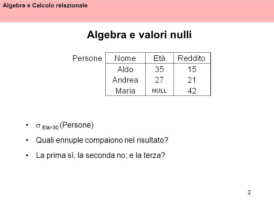 Algebra e Calcolo relazionale 3 Una logica a tre valori Vero, Falso, Sconosciuto(U) Tabelle di verità: Una selezione produce come risultato le ennuple per cui il predicato di selezione è vero In molti casi la logica a tre valori produce un risultato sensato, in altri no