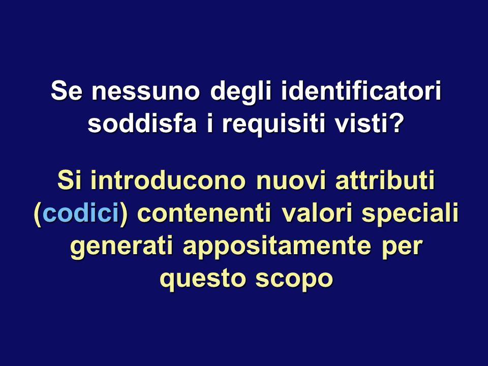 Se nessuno degli identificatori soddisfa i requisiti visti? Si introducono nuovi attributi (codici) contenenti valori speciali generati appositamente