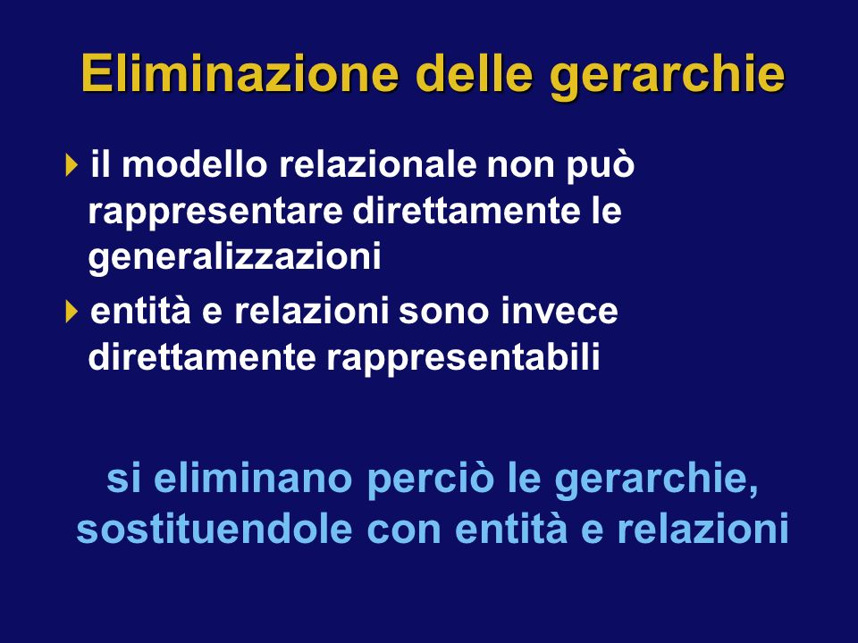 Eliminazione delle gerarchie il modello relazionale non può rappresentare direttamente le generalizzazioni entità e relazioni sono invece direttamente