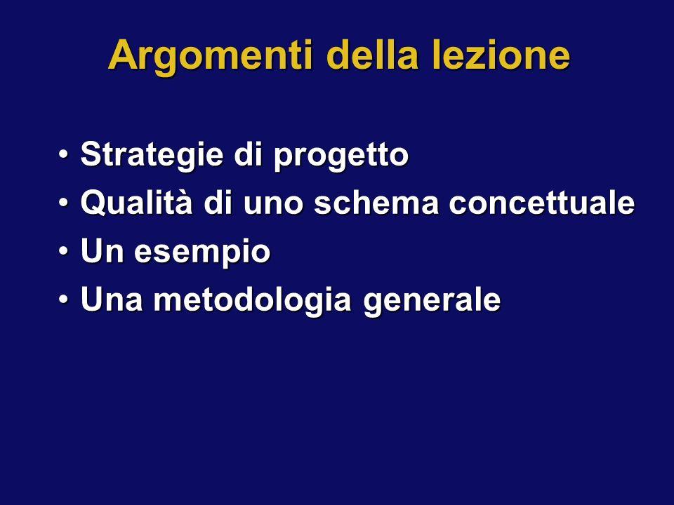 Argomenti della lezione Strategie di progettoStrategie di progetto Qualità di uno schema concettualeQualità di uno schema concettuale Un esempioUn ese