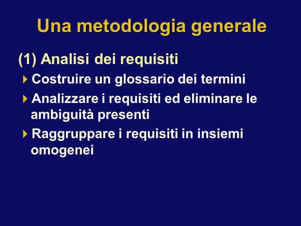 Una metodologia generale (1) Analisi dei requisiti Costruire un glossario dei termini Analizzare i requisiti ed eliminare le ambiguità presenti Raggru