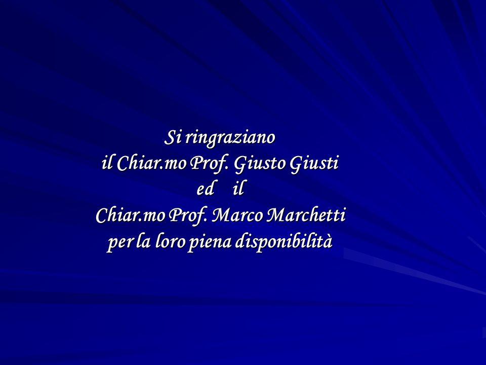 Si ringraziano il Chiar.mo Prof. Giusto Giusti ed il Chiar.mo Prof. Marco Marchetti per la loro piena disponibilità