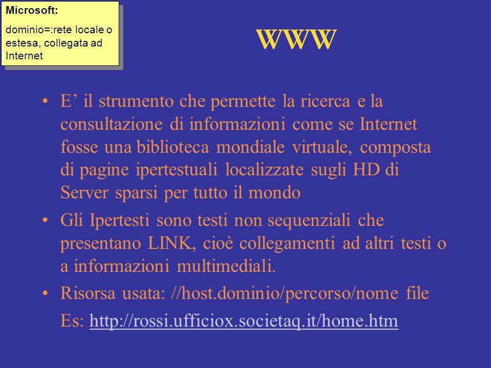 WWW E il strumento che permette la ricerca e la consultazione di informazioni come se Internet fosse una biblioteca mondiale virtuale, composta di pag