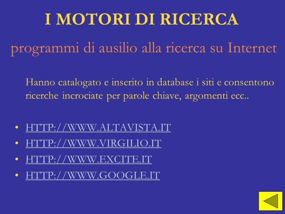 I MOTORI DI RICERCA Hanno catalogato e inserito in database i siti e consentono ricerche incrociate per parole chiave, argomenti ecc.. HTTP://WWW.ALTA