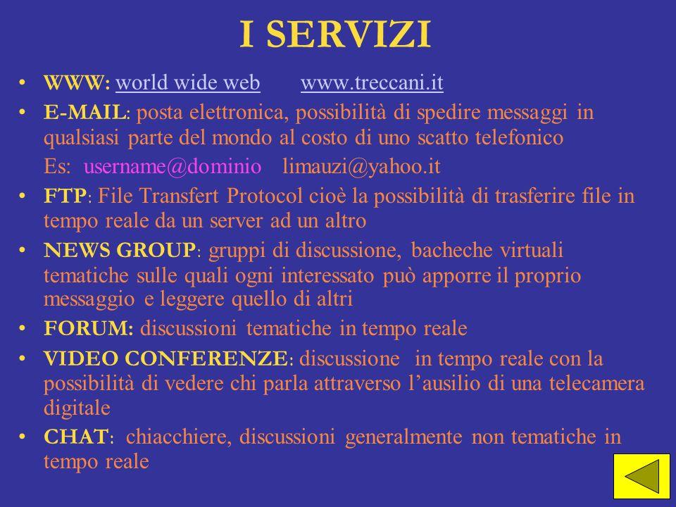 I SERVIZI WWW: world wide web www.treccani.it world wide webwww.treccani.it E-MAIL: posta elettronica, possibilità di spedire messaggi in qualsiasi pa