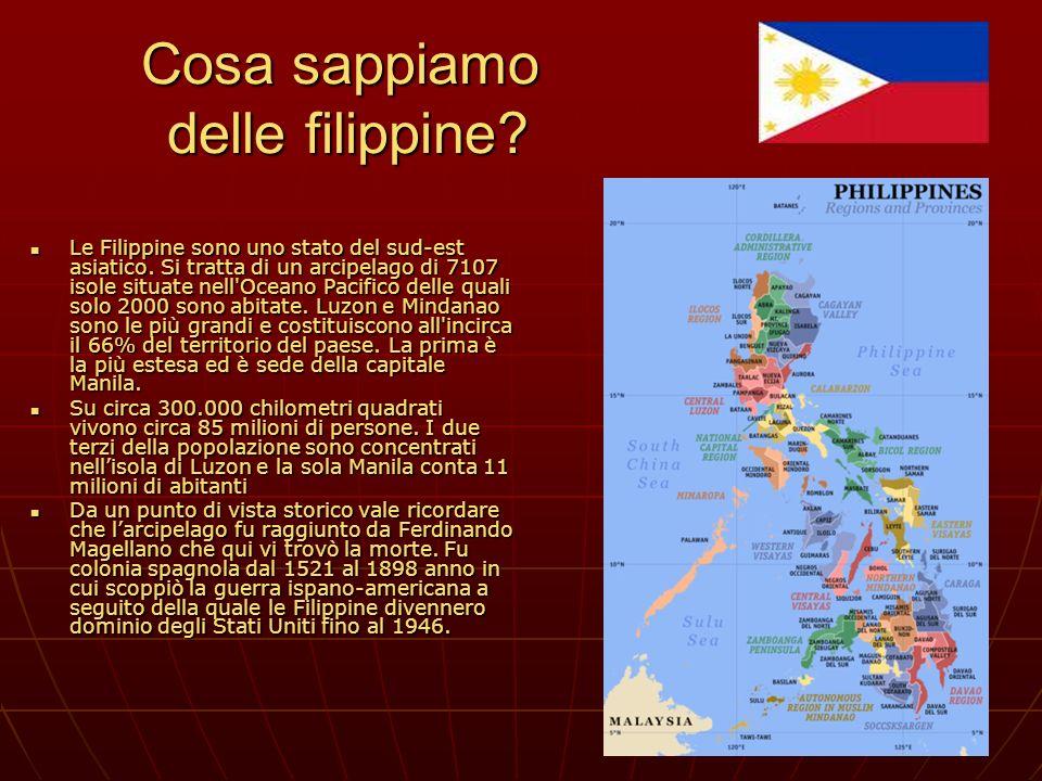 Cosa sappiamo delle filippine? Le Filippine sono uno stato del sud-est asiatico. Si tratta di un arcipelago di 7107 isole situate nell'Oceano Pacifico