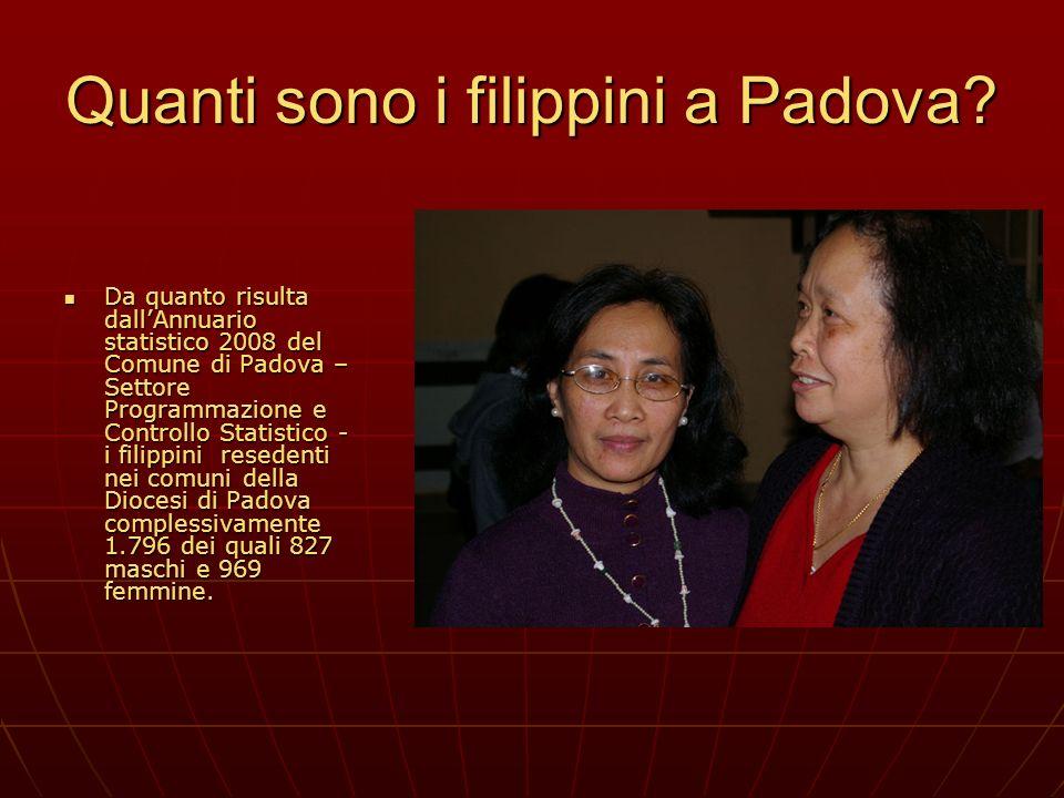 Quanti sono i filippini a Padova? Da quanto risulta dallAnnuario statistico 2008 del Comune di Padova – Settore Programmazione e Controllo Statistico
