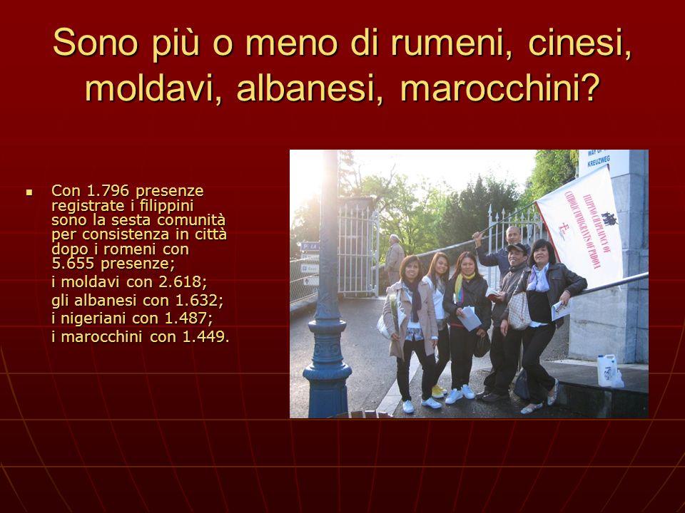 Sono più o meno di rumeni, cinesi, moldavi, albanesi, marocchini? Con 1.796 presenze registrate i filippini sono la sesta comunità per consistenza in