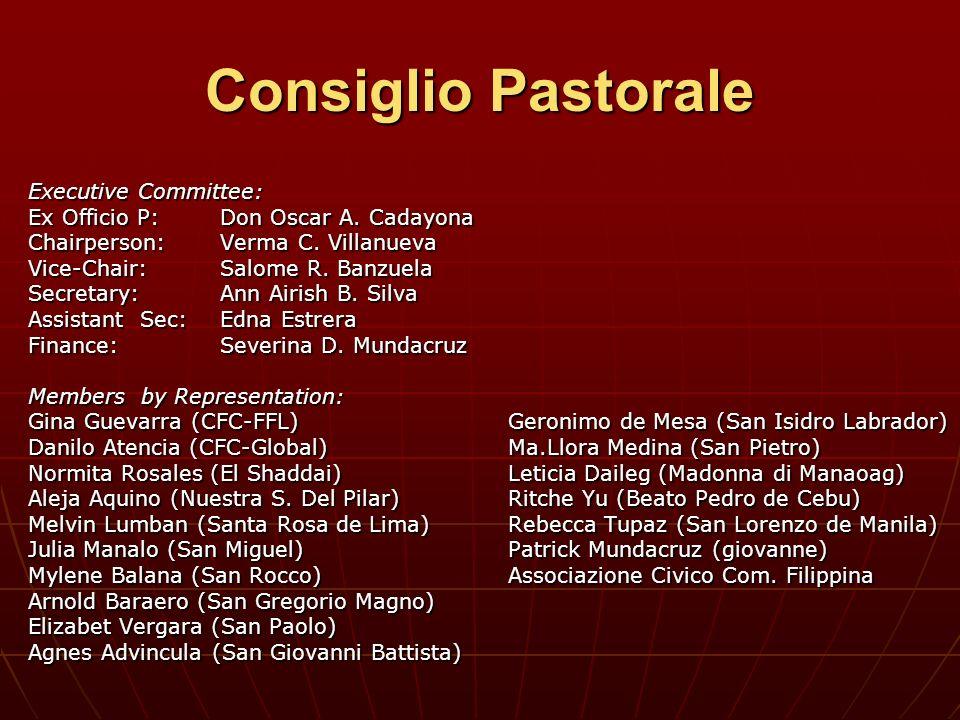 Consiglio Pastorale Executive Committee: Ex Officio P:Don Oscar A. Cadayona Chairperson: Verma C. Villanueva Vice-Chair: Salome R. Banzuela Secretary: