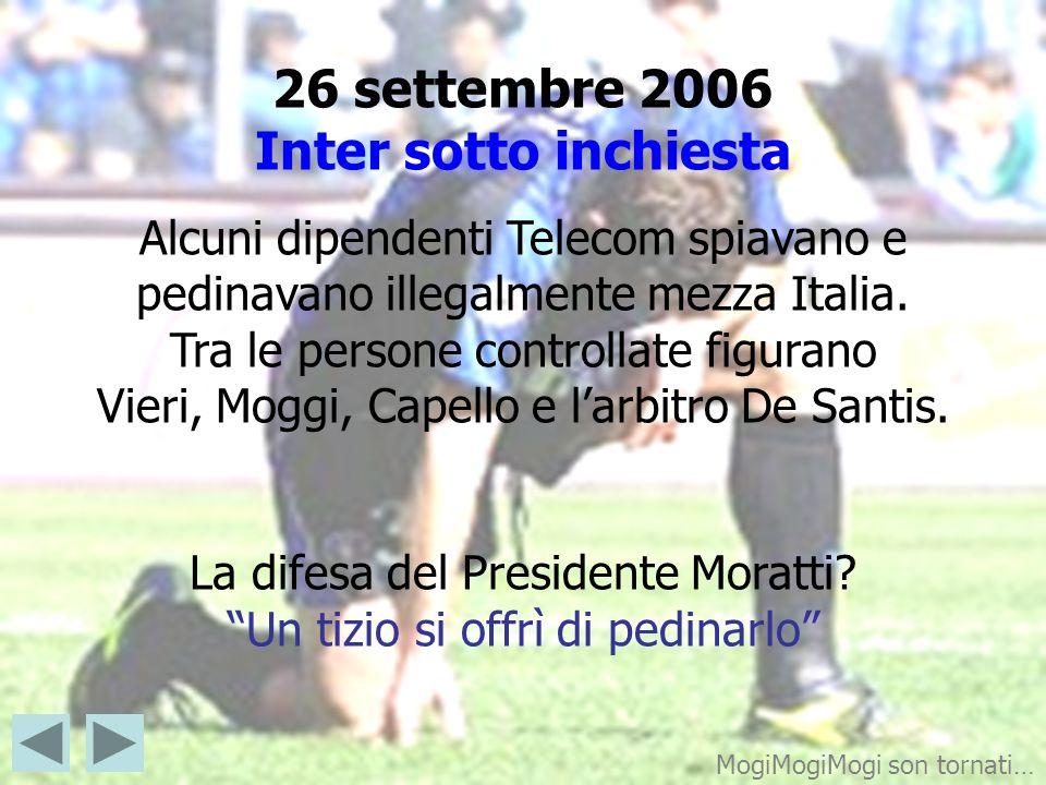 26 settembre 2006 Inter sotto inchiesta Alcuni dipendenti Telecom spiavano e pedinavano illegalmente mezza Italia. Tra le persone controllate figurano