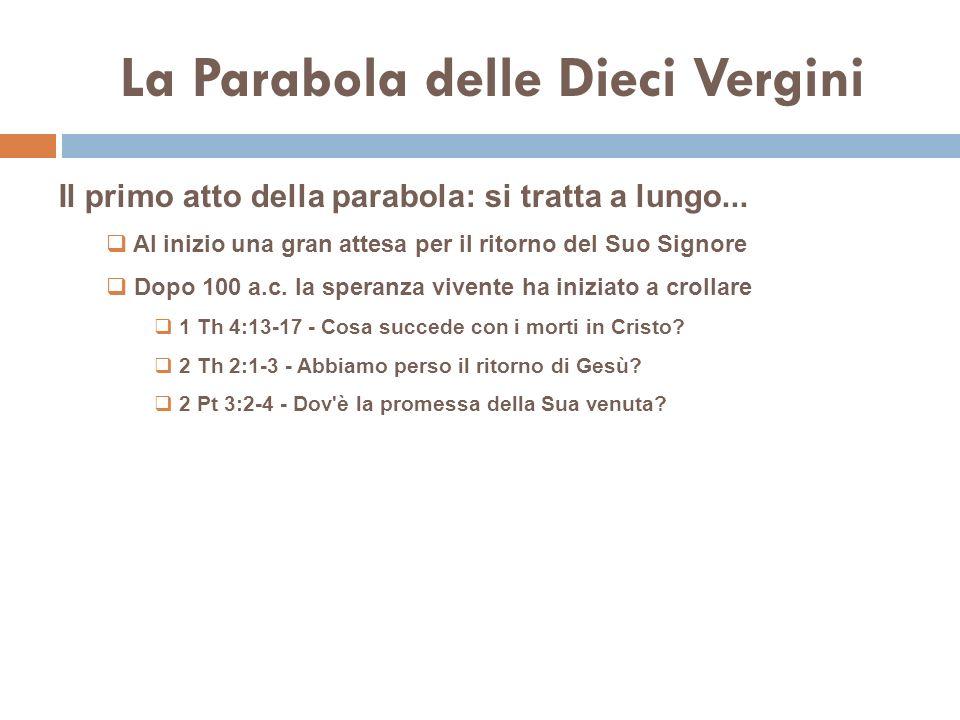 La Parabola delle Dieci Vergini Il primo atto della parabola: si tratta a lungo...