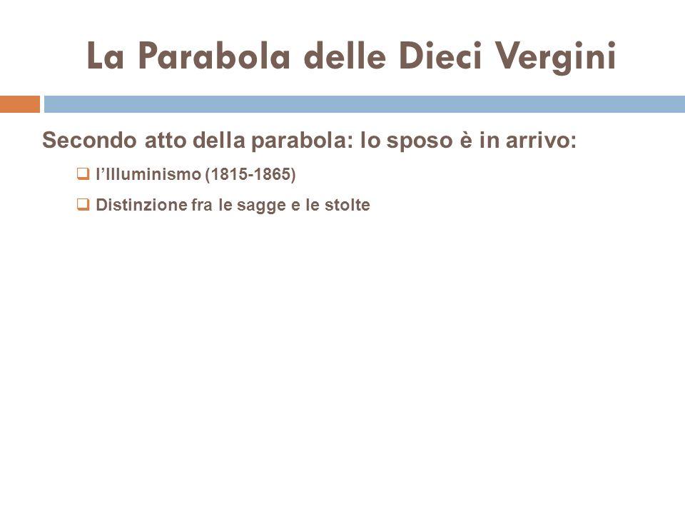 La Parabola delle Dieci Vergini Secondo atto della parabola: lo sposo è in arrivo: lIlluminismo (1815-1865) Distinzione fra le sagge e le stolte