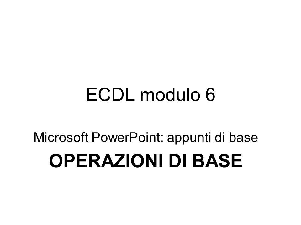 ECDL modulo 6 Microsoft PowerPoint: appunti di base OPERAZIONI DI BASE