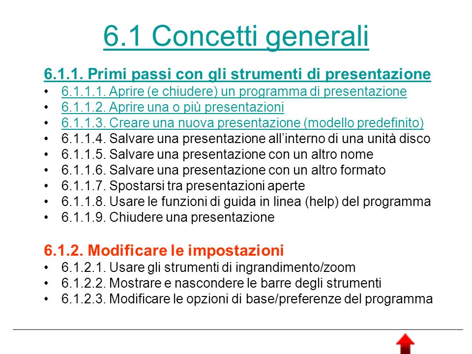 6.1 Concetti generali 6.1.1. Primi passi con gli strumenti di presentazione 6.1.1.1. Aprire (e chiudere) un programma di presentazione 6.1.1.2. Aprire
