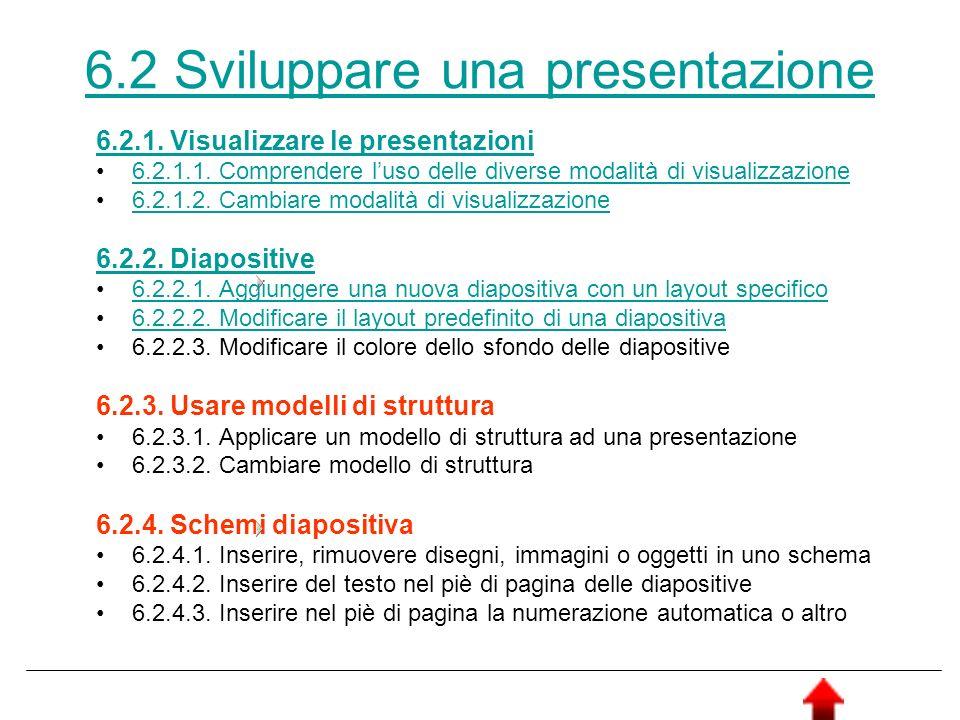 6.2 Sviluppare una presentazione 6.2.1. Visualizzare le presentazioni 6.2.1.1. Comprendere luso delle diverse modalità di visualizzazione 6.2.1.2. Cam