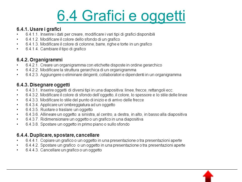 6.4 Grafici e oggetti 6.4.1. Usare i grafici 6.4.1.1. Inserire i dati per creare, modificare i vari tipi di grafici disponibili 6.4.1.2. Modificare il