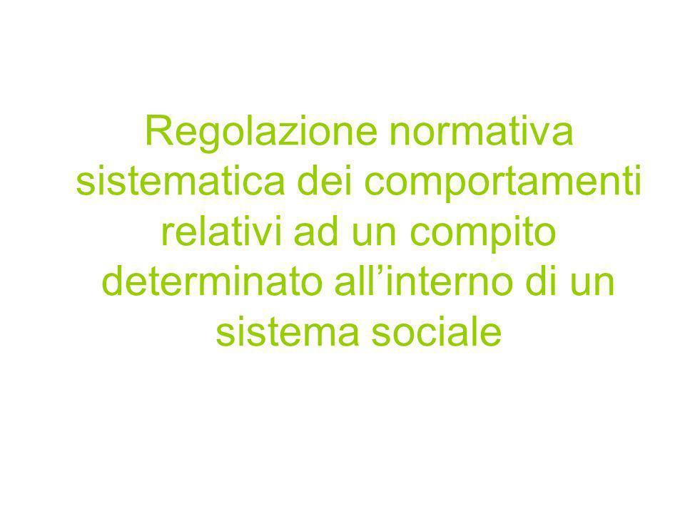 Regolazione normativa sistematica dei comportamenti relativi ad un compito determinato allinterno di un sistema sociale