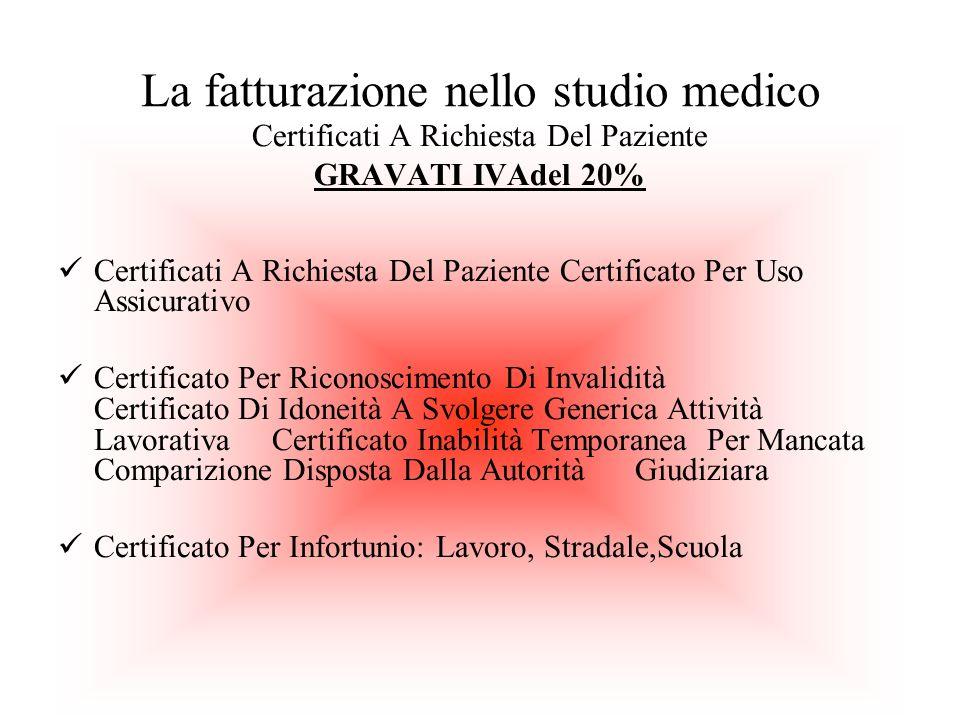 La fatturazione nello studio medico Certificati A Richiesta Del Paziente GRAVATI IVAdel 20% Certificati A Richiesta Del Paziente Certificato Per Uso A