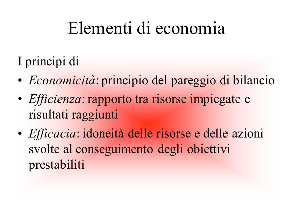 Elementi di economia I principi di Economicità: principio del pareggio di bilancio Efficienza: rapporto tra risorse impiegate e risultati raggiunti Ef