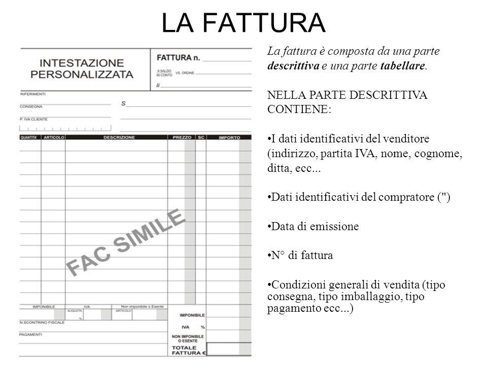 LA FATTURA La fattura è composta da una parte descrittiva e una parte tabellare. NELLA PARTE DESCRITTIVA CONTIENE: I dati identificativi del venditore