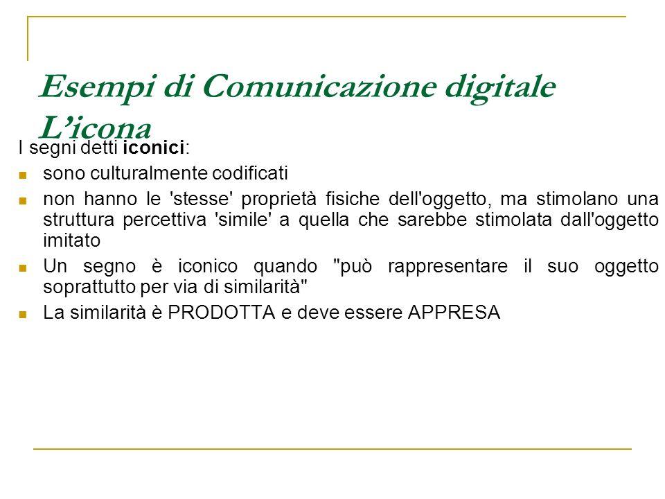 Esempi di Comunicazione digitale Licona I segni detti iconici: sono culturalmente codificati non hanno le 'stesse' proprietà fisiche dell'oggetto, ma