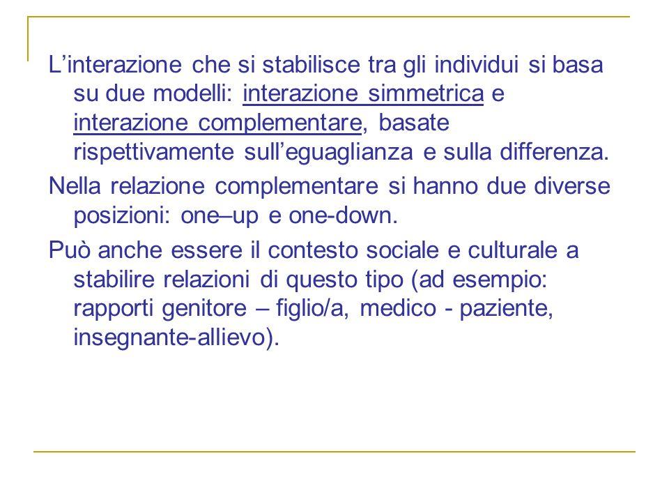 Linterazione che si stabilisce tra gli individui si basa su due modelli: interazione simmetrica e interazione complementare, basate rispettivamente su
