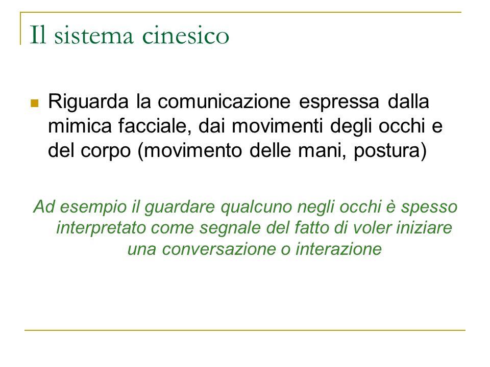 Il sistema cinesico Riguarda la comunicazione espressa dalla mimica facciale, dai movimenti degli occhi e del corpo (movimento delle mani, postura) Ad