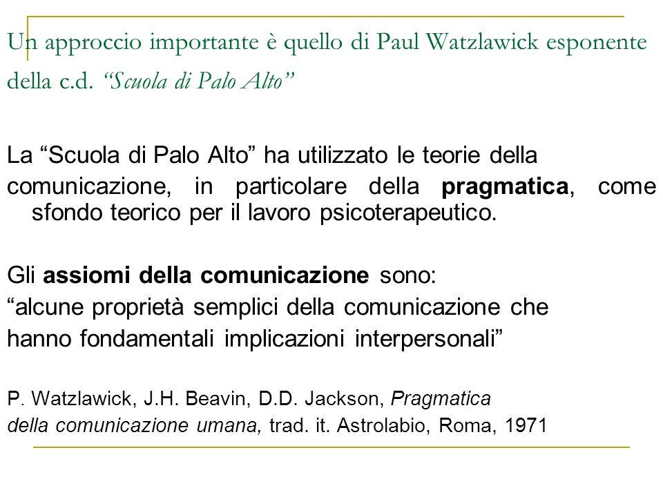 Un approccio importante è quello di Paul Watzlawick esponente della c.d. Scuola di Palo Alto La Scuola di Palo Alto ha utilizzato le teorie della comu