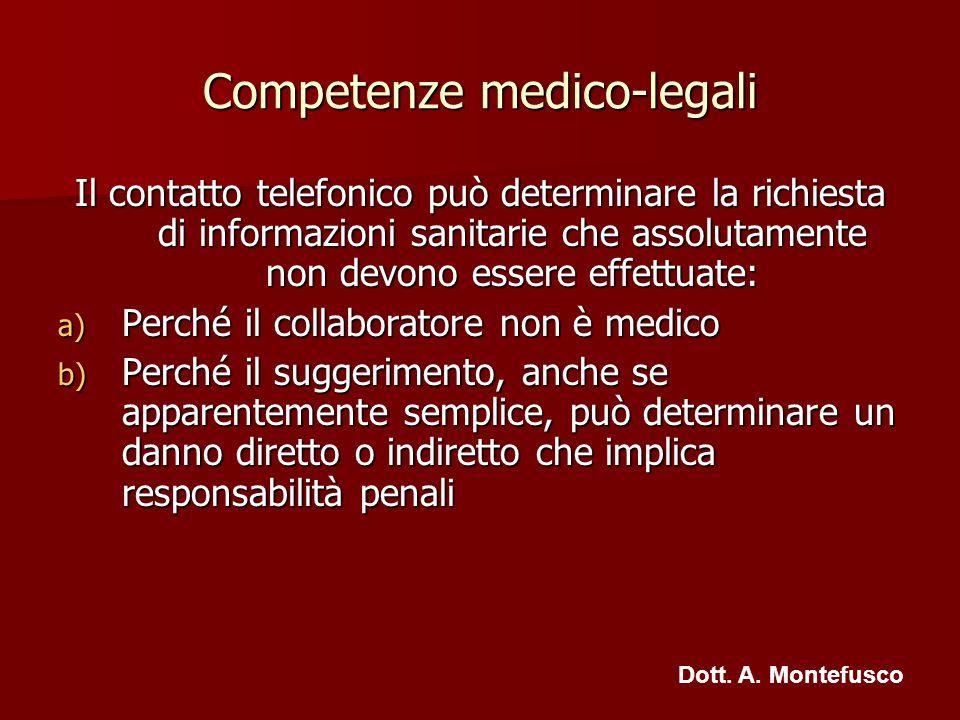 Competenze medico-legali Il contatto telefonico può determinare la richiesta di informazioni sanitarie che assolutamente non devono essere effettuate: