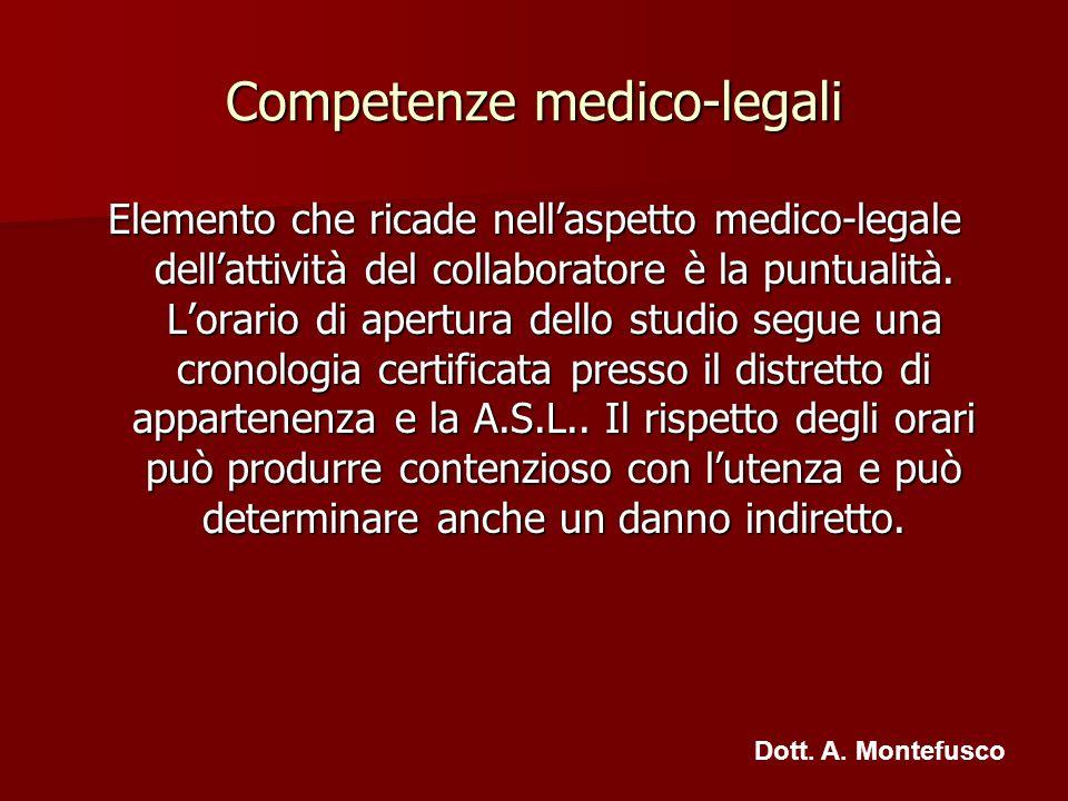 Competenze medico-legali Elemento che ricade nellaspetto medico-legale dellattività del collaboratore è la puntualità. Lorario di apertura dello studi