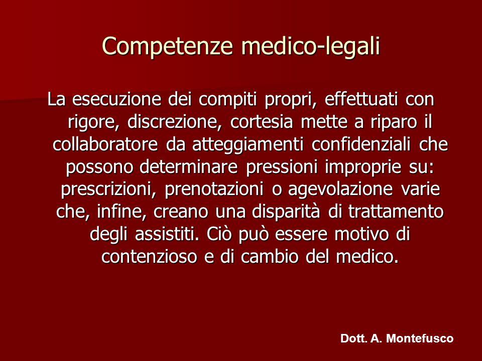 Competenze medico-legali La esecuzione dei compiti propri, effettuati con rigore, discrezione, cortesia mette a riparo il collaboratore da atteggiamen