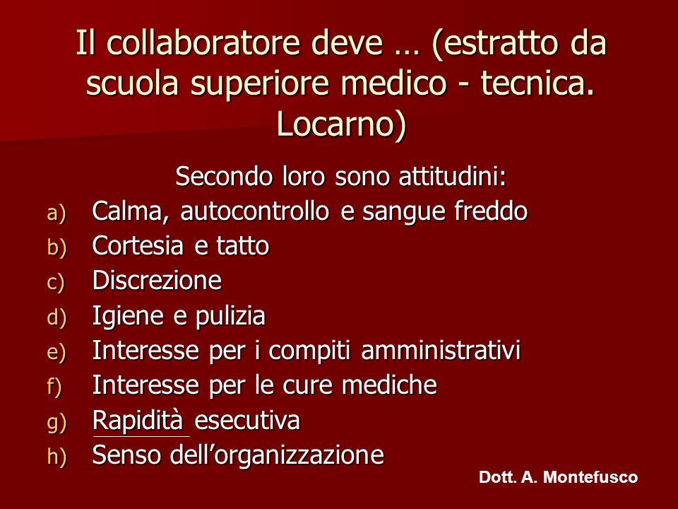 Il collaboratore deve … (estratto da scuola superiore medico - tecnica. Locarno) Secondo loro sono attitudini: a) Calma, autocontrollo e sangue freddo
