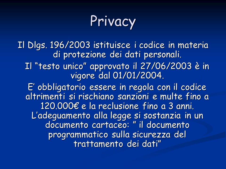 Privacy Il Dlgs.196/2003 istituisce i codice in materia di protezione dei dati personali.