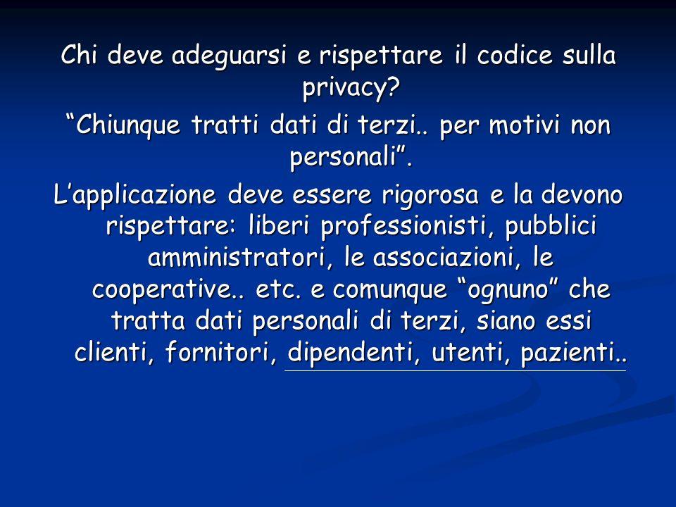 Chi deve adeguarsi e rispettare il codice sulla privacy.