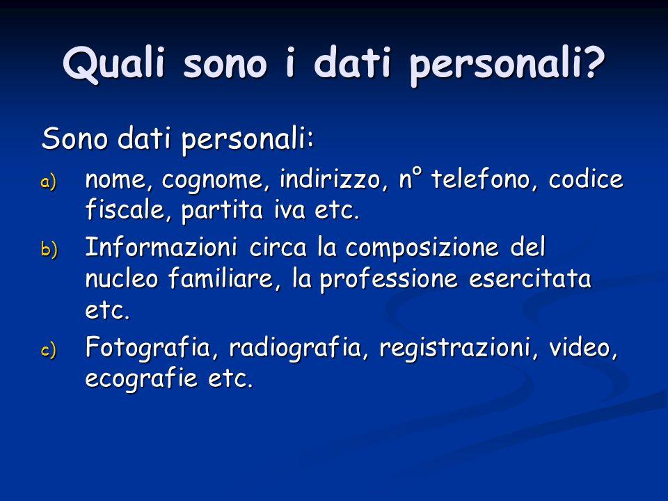 Quali sono i dati personali.