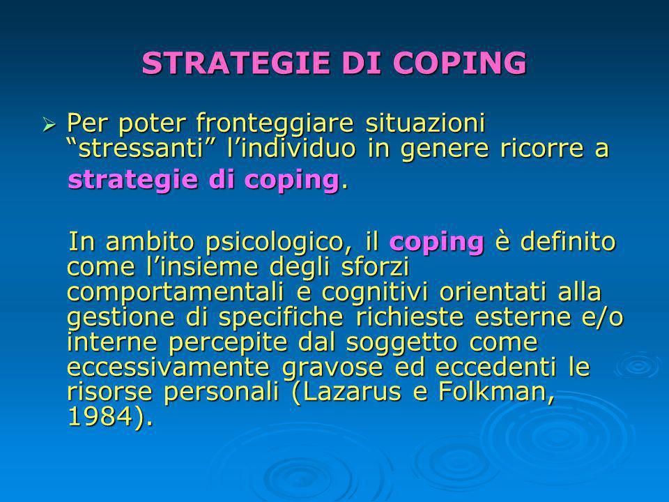 STRATEGIE DI COPING Per poter fronteggiare situazioni stressanti lindividuo in genere ricorre a Per poter fronteggiare situazioni stressanti lindividuo in genere ricorre a strategie di coping.