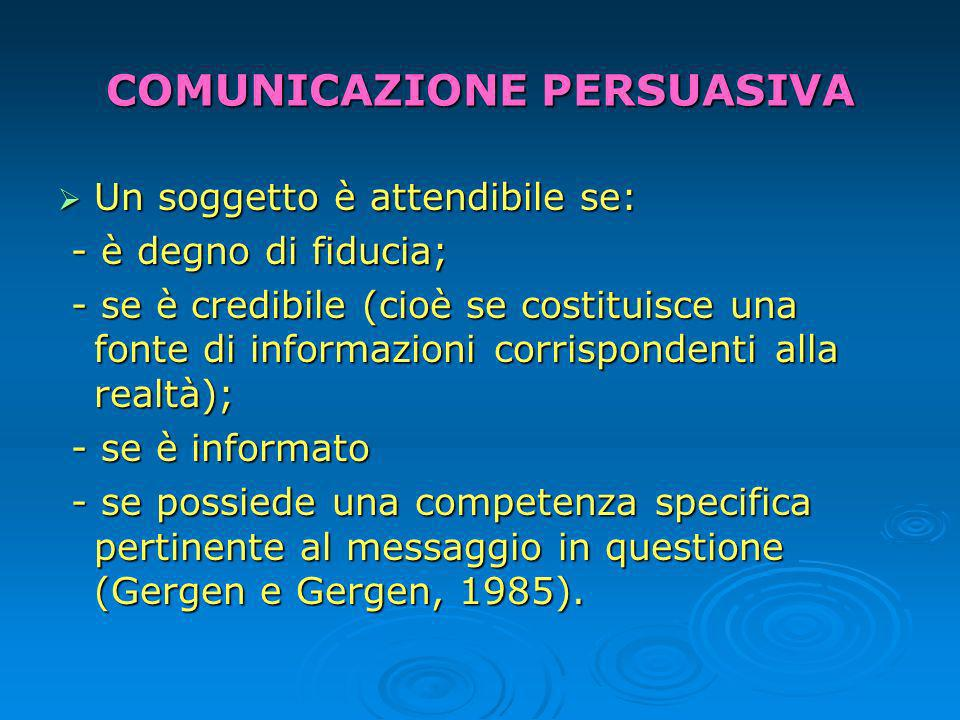 COMUNICAZIONE PERSUASIVA Un soggetto è attendibile se: Un soggetto è attendibile se: - è degno di fiducia; - è degno di fiducia; - se è credibile (cioè se costituisce una fonte di informazioni corrispondenti alla realtà); - se è credibile (cioè se costituisce una fonte di informazioni corrispondenti alla realtà); - se è informato - se è informato - se possiede una competenza specifica pertinente al messaggio in questione (Gergen e Gergen, 1985).
