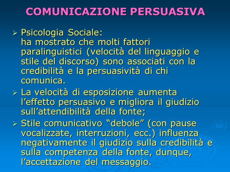 COMUNICAZIONE PERSUASIVA Psicologia Sociale: ha mostrato che molti fattori paralinguistici (velocità del linguaggio e stile del discorso) sono associati con la credibilità e la persuasività di chi comunica.